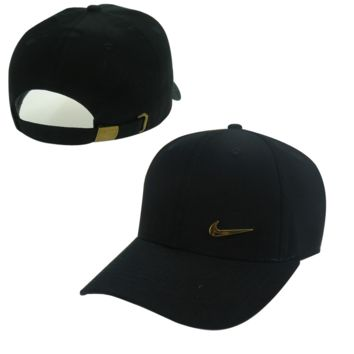 Black Nike Hook Embroidered Adjustable Outdoor Baseball Cap Hats