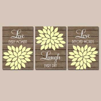 Live Laugh Love Wall Art, Bedroom Canvas or Prints Bathroom Decor, Bedroom Pictures, Flower Wall Art, Flower Burst Dahlia Set of 3 Art