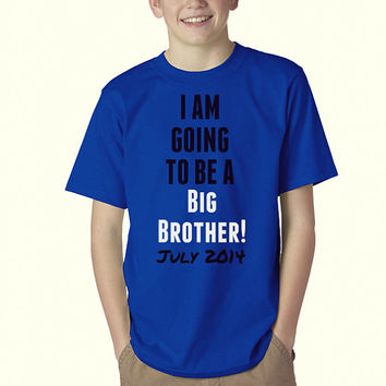 Royal Blue - Youth Boys T Shirt - Baby Announcements - Big Brother - Memories - Boys