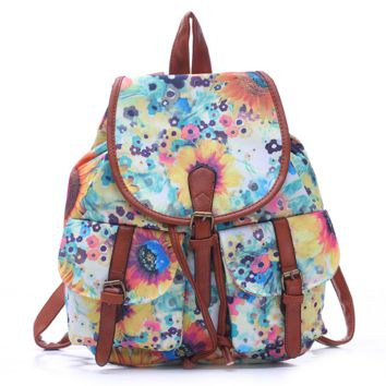 Flower Painting College College School Bag Travel Bag Canvas Lightweight Backpack