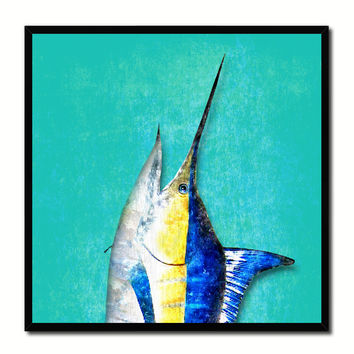 Swordfish Fish Head Art Aqua Canvas Print Picture Frame Wall Home Decor Nautical Fishing Gifts