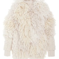 Adam Lippes Textured Long Sleeve Cardigan Ivory Multi