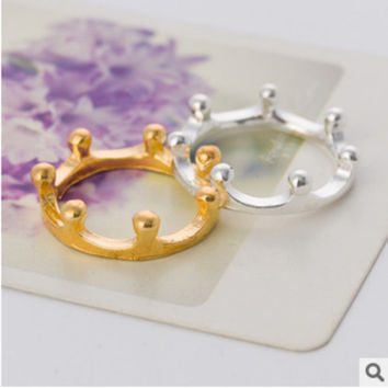 Stylish Gift New Arrival Shiny Jewelry Korean Accessory Lovely Crown Ring [6586194375]