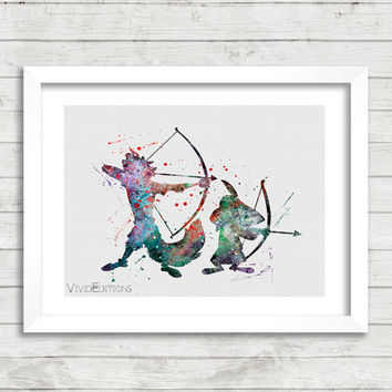 Robin Hood Disney Watercolor Art Poster Print, Baby Nursery Art, Kids Decor, Minimalist Home Decor, Not Framed, Buy 2 Get 1 Free! [No. 161]
