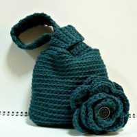 Crochet Wristlet Purse Handbag Pouch Deep Teal Loop-a-loop bag with Flower 6.0 x 5.5 inches