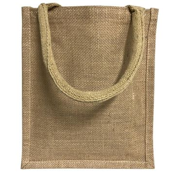 Jute Burlap Tote Bags Bulk - 11 Inch Reusable Eco Friendly Party Favors Bag with Laminated Interior and Full Gusset for Crafts, Decorations, Birthday Parties, Wedding and Events