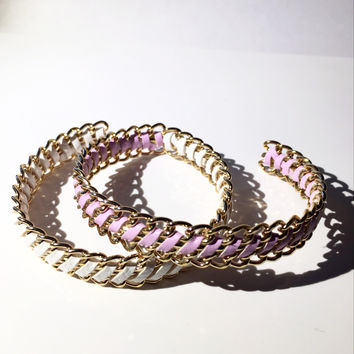 Gold Open Cuff Bangle Bracelet - Lavender or White Suede