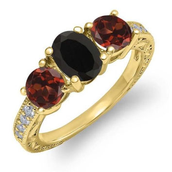 2.02 Ct Oval Black Onyx Red Garnet 18K Yellow Gold Plated Silver Ring