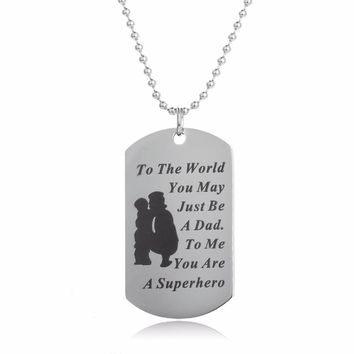 Trendy To The World Military Dog Tag Pendant Necklace Dad Daddy Son Daughter Family Love Boy Girl Charm Jewelry Stainless Steel
