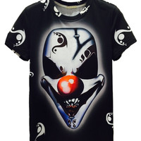 Black Evil Clown Printed T-shirt