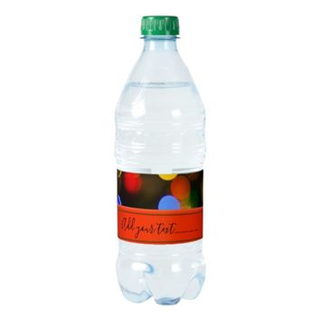 Multicolored Christmas lights. Add text or name. Water Bottle Label