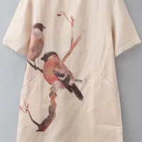 Beige Short Sleeve Bird Printed Loose Fitting Dress