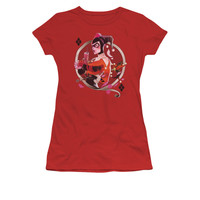 Harley Quinn Q Juniors Red T-Shirt