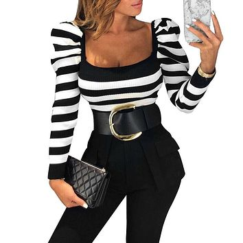 Women Striped Long Sleeve Tops Shirt Ladies Slim Fit Square Neck Blouse Pullover