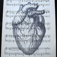 Heart Art Print on Vintage Music Sheet