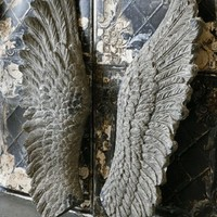 Concrete Giant Wall Hanging Angel Wings