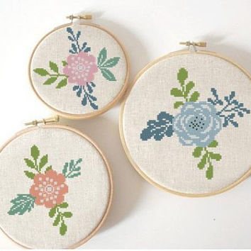flowers cross stitch retro pattern, set flowers pattern, counted cross stitch easy, floral cross stitch chart, PDF pattern, instant download