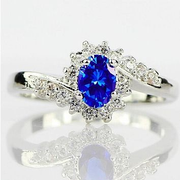 Simple and Elegant Oval Shape Zircon Royalblue 925 Silver White Gold Ring Natural Sapphire Gemstones Birthstone Bride Princess Wedding Engagement  Ring Jewellery Accessories Size 6 7 8 9