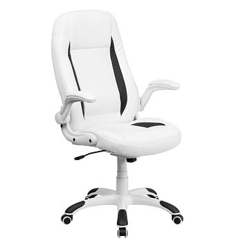 High Back Leather Executive Swivel Office Chair with Flip-Up Arms