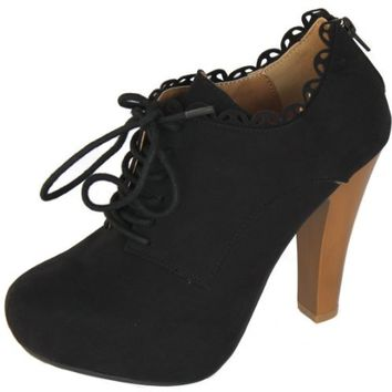 Qupid Black Suede Lace up Oxford Ankle Bootie High Heel Women Fashion Shoes Puffin-34 (8.5)