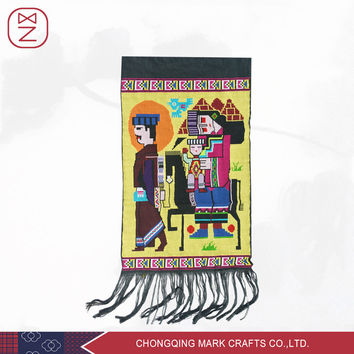 Free Shipping China Tujia Ethnic Plain Style Colorful Cotton Tapestry Hand Woven Wall Hanging Tapestry Decoration
