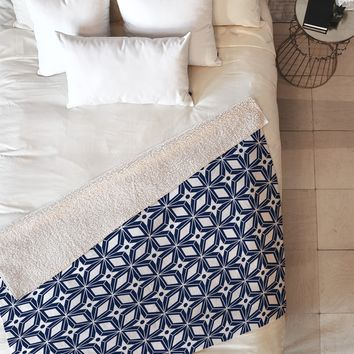 Heather Dutton Starbust Navy Fleece Throw Blanket