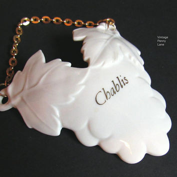 Vintage Porcelain Chablis Liquor Tag, Decanter Bottle Label, Ceramic Japan
