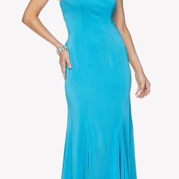 Turquoise Fit and Flare Evening Gown Cut Out Back with Ruffles