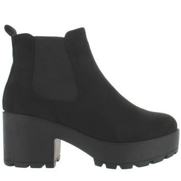 Coolway Irby - Black Nubuck Dual Gore Pull-On Chunky Platform Bootie