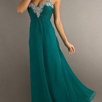 Buttercup Chiffon Long Prom Dress A-line Sweetheart Dresses with Straps