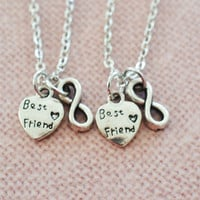best friend necklace,set of 2 friend ship necklace,heart jewelry,gift for best friends,bridesmaid,infinity jewelry,friendship bff necklace