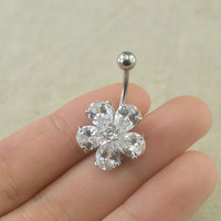 bellybutton rings crystal flower belly button jewelry navel piercing,bff gift