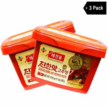 Haechandle - Gochujang Hot Chile Paste, Made in Korea, 1.1 lbs (3-Pack)
