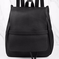 Trust Nobody Faux Leather Bucket Backpack
