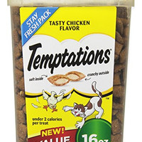 TEMPTATIONS Classic Treats for Cats Tasty Chicken Flavor, 16 Ounces