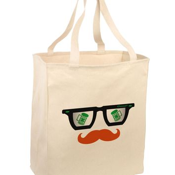 St. Patrick's Day Beer Glasses Design Large Grocery Tote Bag by TooLoud