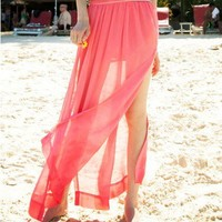 Chiffon Pink Skirts with Thigh Vents