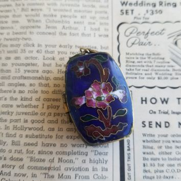 Blue cloisonne enamel lotus flower vintage Chinese locket box