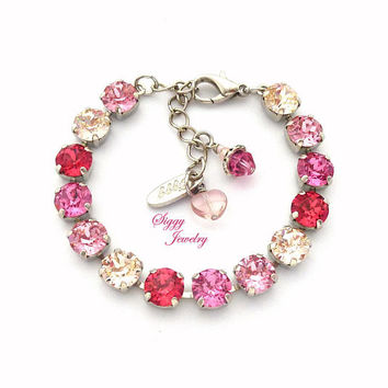 Swarovski Crystal Bracelet, 8mm Pink Ombre, Mulit Shades of Pink and Nude, Trendy Arm Candy, Assorted Finishes, Gift For Her