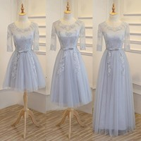 New light grey champone fairy floor length sexy lady girl women princess bridesmaid banquet party ball dress gown free shipping