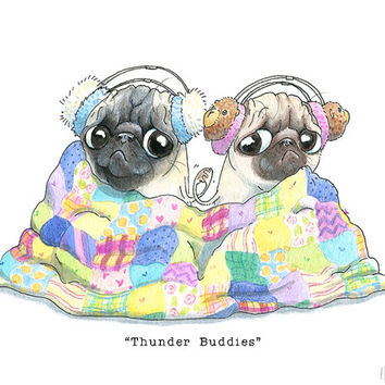 Pug Art Print - 5x7, 8x10, 8.5x11 - Thunder Buddies, Best Friends Art, Scaredy Pugs, Pug Friends, Fawn Pug Art by Inkpug!