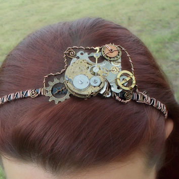 Steampunk Gears and Wire Wrap Headband