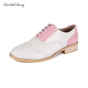 2017 Branded Design women Casual Full Grain Leather Oxfords Brogue Shoes Round head Fashion Mixed Color Oxford Shoes for women