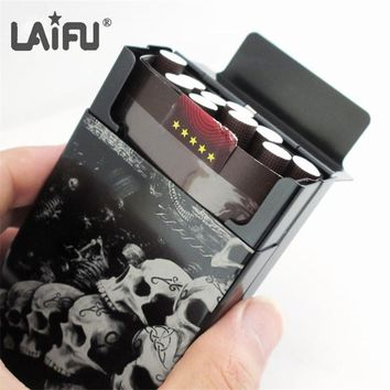 Personalized Skulls Cigarette Case Male Ultra-thin Man Cigarette Boxes laser Designed Forever Skulls smoking parts holder