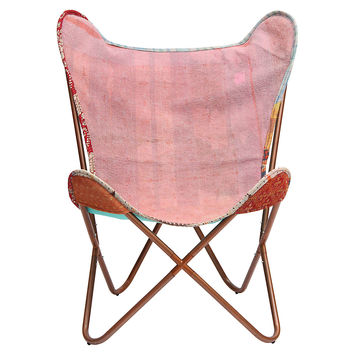 Kantha Butterfly Chair, Pink/Red/White, Kantha Throw, Accent & Occasional Chairs