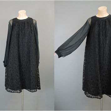 1960s Black Lace Dress with Sheer Sleeves, fits 36 inch bust, Vintage Party Cocktail Tent Dress