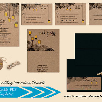 DIY Wedding Invitation Bundle Template, RSVP, Details Card, Thank you, Instant Download, Digital, Kraft Mason Jar and Fireflies #1CM77-2