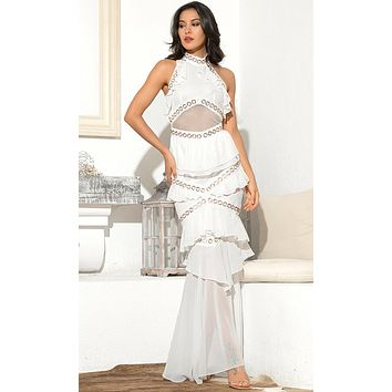 Romantic Kisses White Sheer Mesh Sleeveless Chiffon Mock Neck Backless Halter Ruffle Maxi Dress