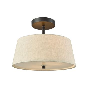 Morgan 2 Light Semi Flush In Oil Rubbed Bronze With Beige Fabric Shade And White Glass Diffuser