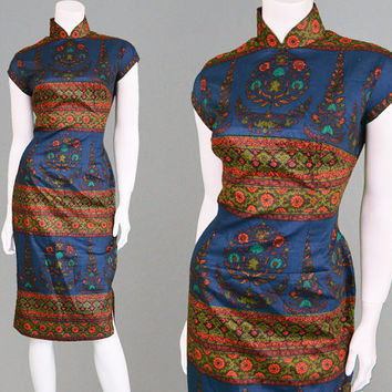 Vintage 50s 60s Cheongsam Dress Silk Cotton Blend Oriental Dress Chinese Dress 50s Wiggle Dress Pin Up Dress 1950s Dress Paisley Print Boho